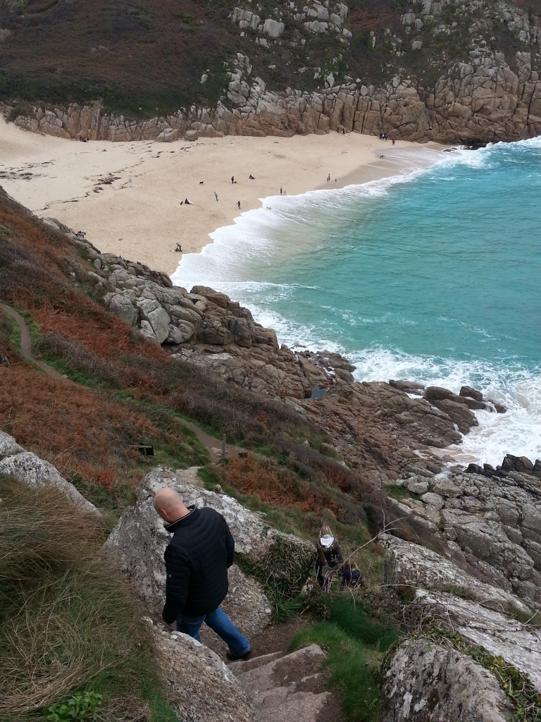Steep steps down to the secluded beach