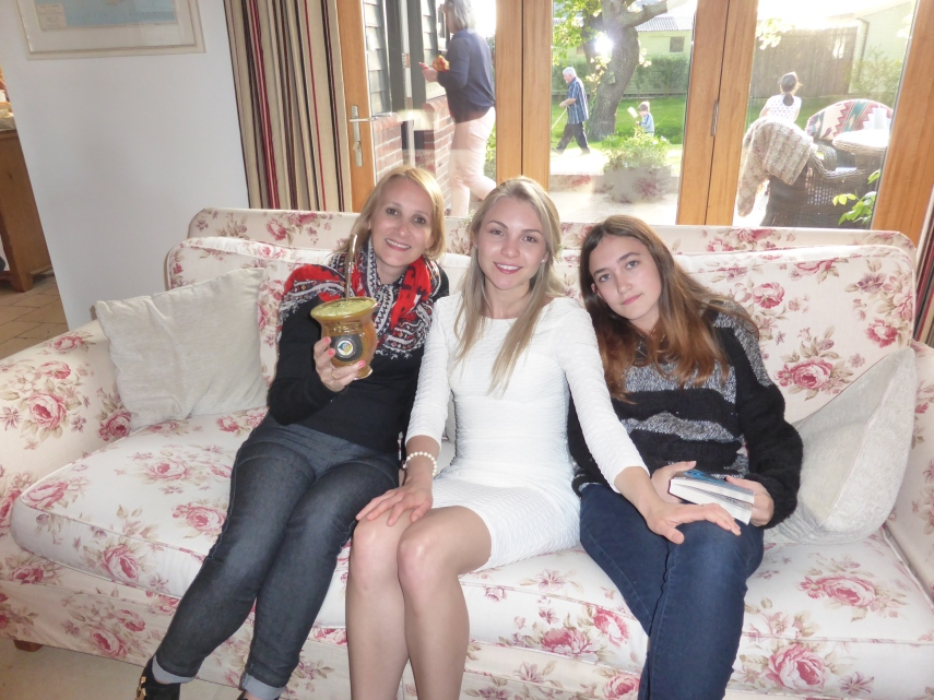 A taste of home, drinking chimarrao with Carol and Lauren