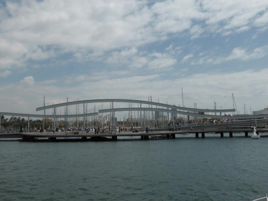 This modern bridge slides open to allow boats through