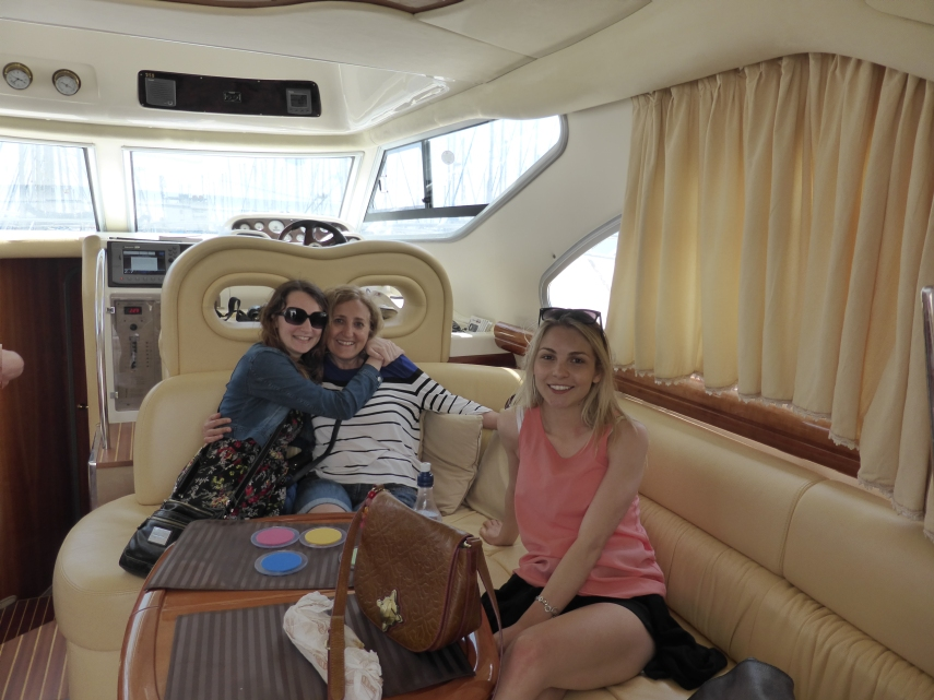 Inside our rented power boat