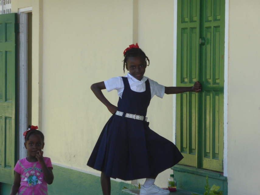 In her school uniform she made a pose