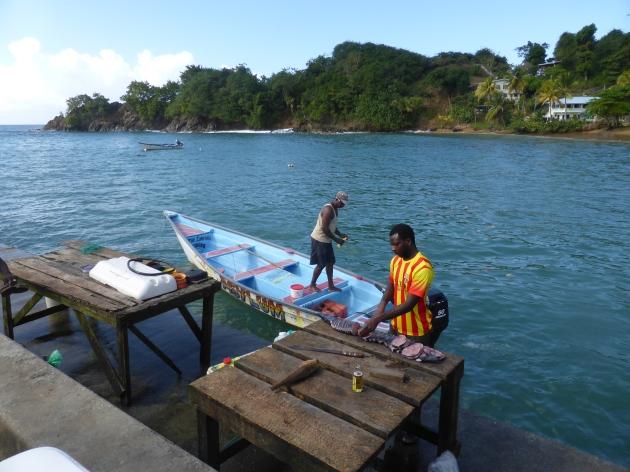 A local fisherman preparing the catch