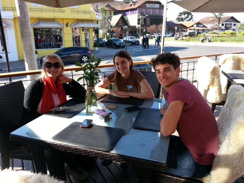 hanging out with Chloe and James at a coffee shop