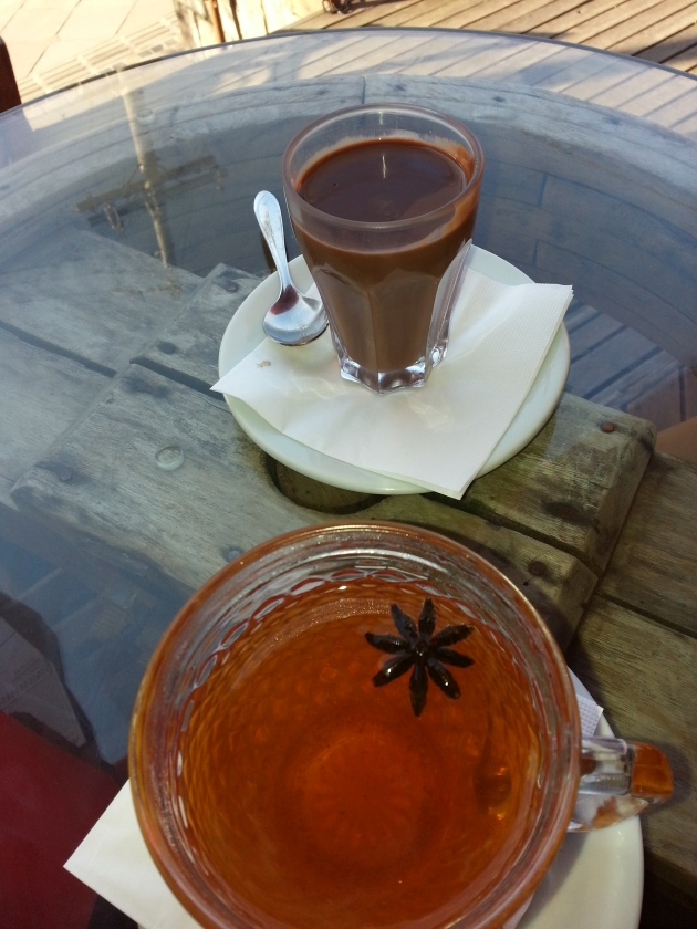 Traditional clove and cinnamon tea and hot chocolate