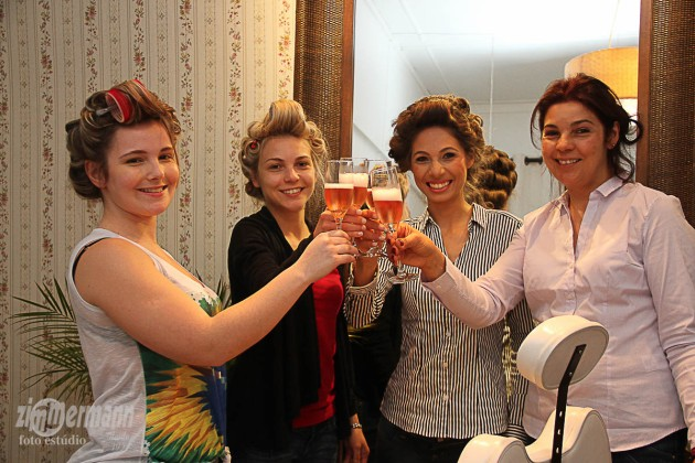 Bride with her mother, sister and sister-in-law having the VIP treatment