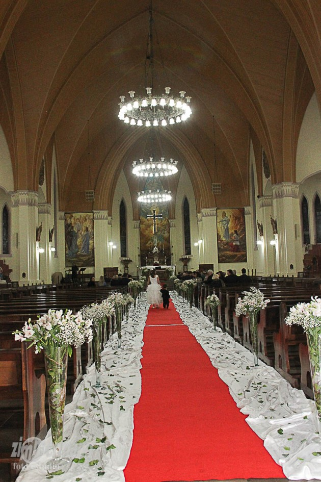 Inside the church was decorated in white and green