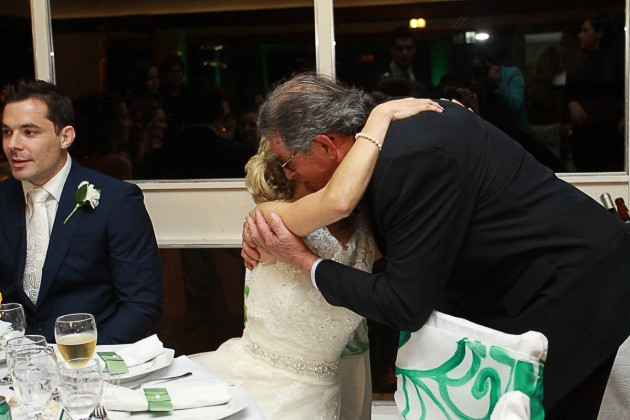 Caroline hugging her maternal grandfather, just few days before the wedding Caroline's maternal grandmother had passed away