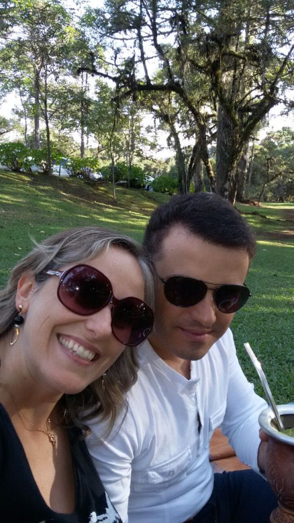 My sister with her fiancée enjoying a chimarrao at the Caracol Park