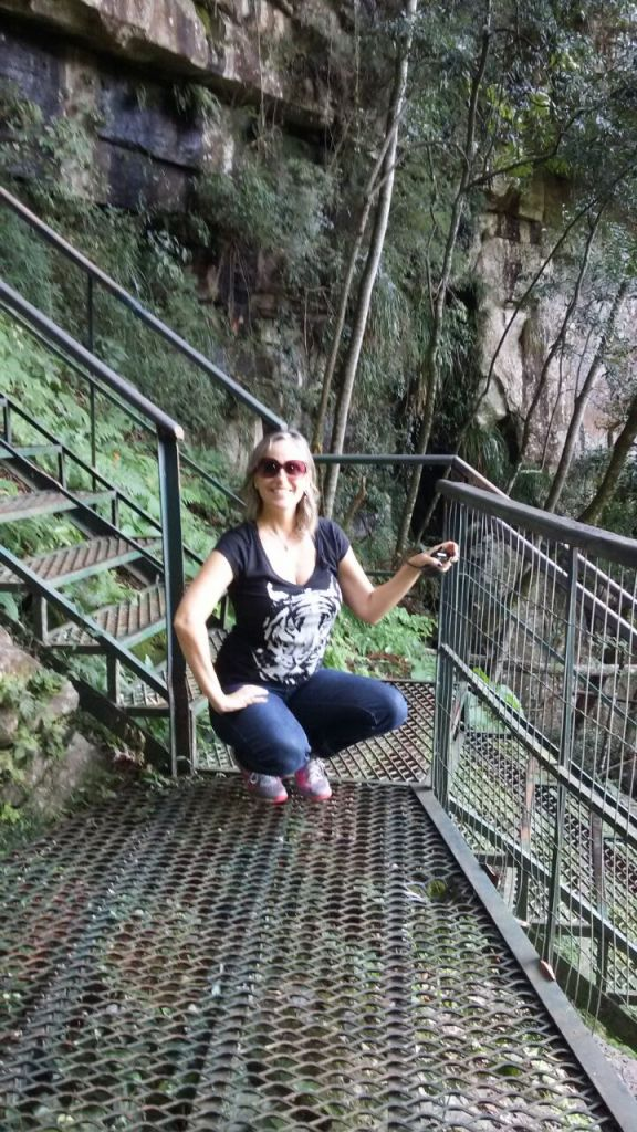 My sister Angelita, braving the 927 steps down to the feet of the fall