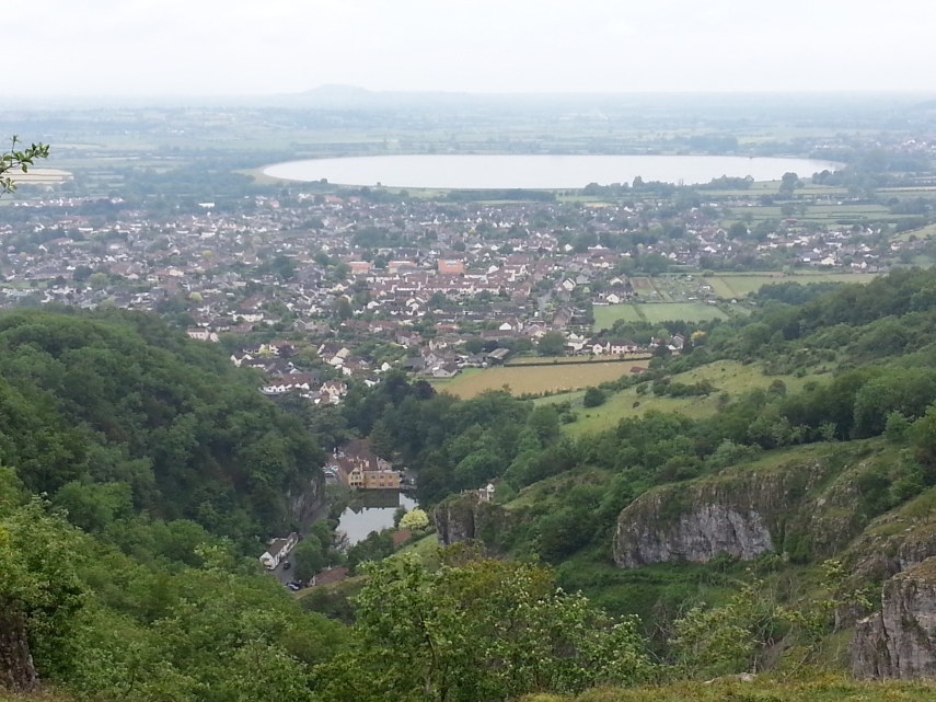 The town of Cheddar and the man made lake