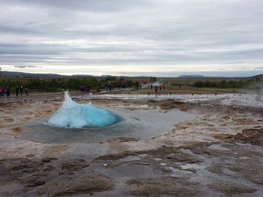 Strokkur jst about to blow up