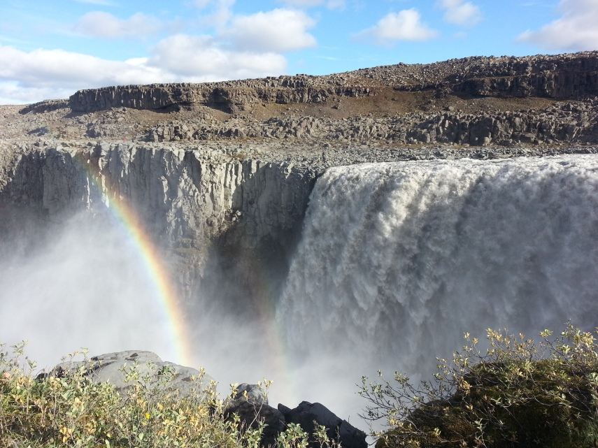 Dettifoss and a rainbow