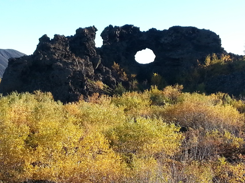 Solid lava formations among the beautiful Autumnal vegetation