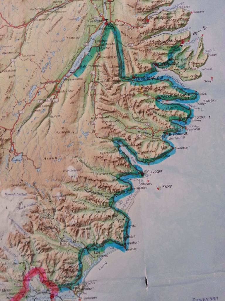 Our day 4 route through the East Fjords