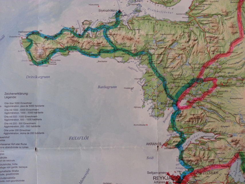 Our day 7 route around the Snaelfeness Peninsula and ending up in Reykjavik
