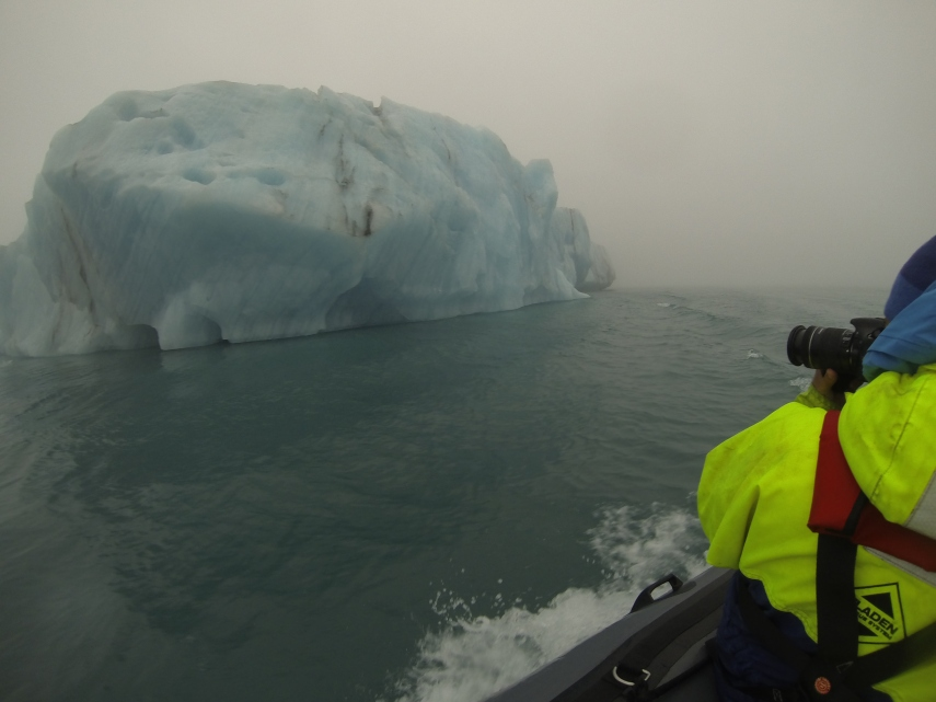 The Zodiac took us deep into the lagoon passing by giant blue icebergs