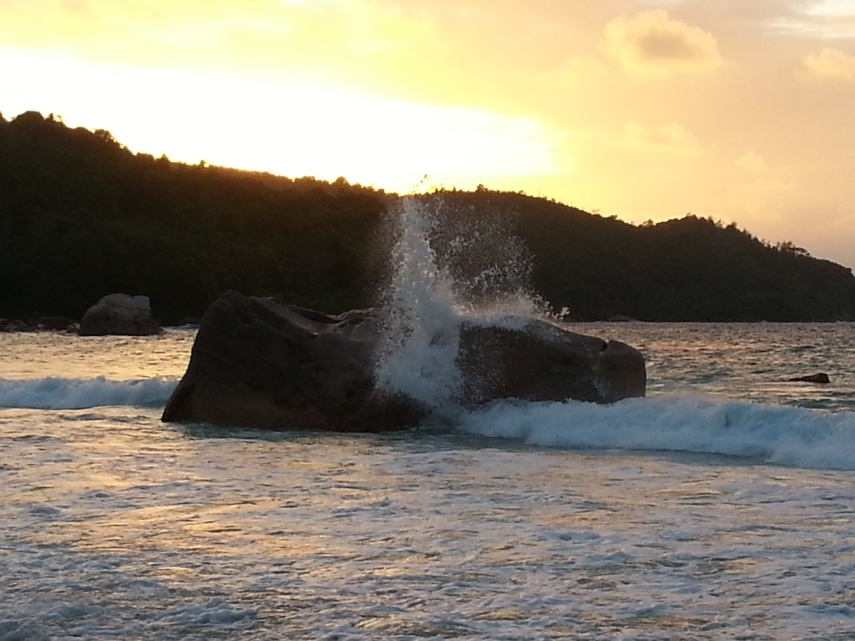Sunset at Anse Lazio